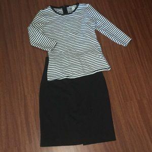 H&M black pencil striped skirt